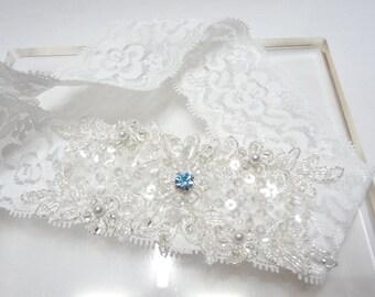 White Lace Garter, Wedding bridal garter, white garter, lace garter, swarovski blue stone something blue