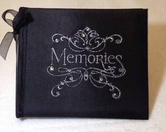 Black Photo Album embellished with Bow and swarovski crystals