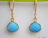 Blue Turquoise earrings, Gemstones earrings, bezel set earrings
