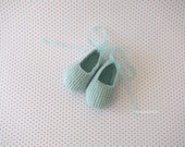 hand knitted baby shoes - booties - soft aqua merino wool