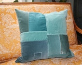 Velvet Patchwork Throw Pillow, multi blues with Ultra suede back