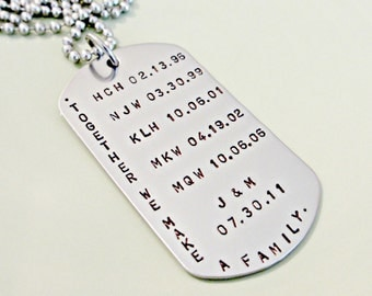 Hand Stamped Dog Tag - Together We Make A Family - Custom Mens Jewelry - Personalized Daddy Necklace - Fathers Day Gift