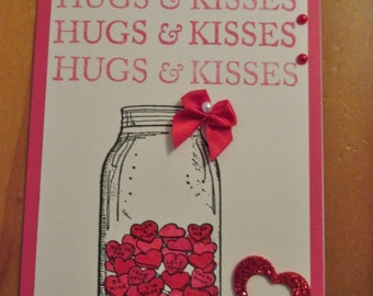 Valentine Card, with Stamped Jar of Conversation Hearts