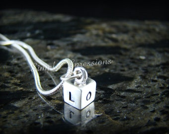 Sterling Silver Cube Pendant Necklace - Brushed Finish