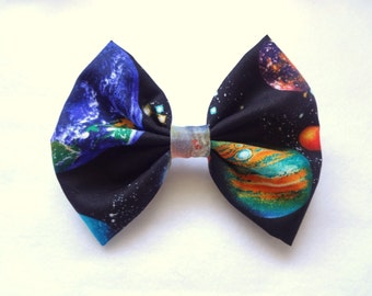 FREE US SHIPPING! Galaxy Bow with barrette attachment- planets and stars design// kawaii universe galactic bow// stocking stuffer