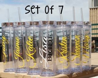 SALE, 7 Skinny Personalized Bridesmaid Tumblers - Wedding Party Acrylic Tall Tumblers - Set of SEVEN