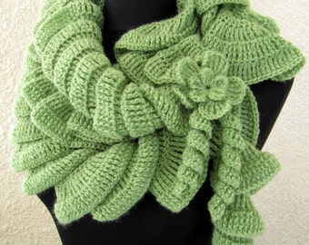 Crochet Scarf PATTERN, Unique Crochet Ruffle Scarf With Flower, DIY Gift Easy Tutorial Instant Download PDF Pattern No.18 by Lyubava Crochet