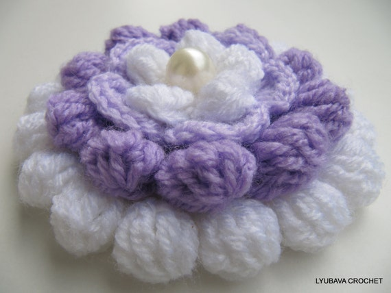 Crocheting Clusters : Crochet PATTERN Flower - Crochet Cluster Stitch - Crochet Flower ...