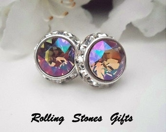 12mm Purple Haze Special Effects Silver Swarovski Surrounds Rhinestone Stud Earrings-Purple Haze Crystal Surrounds Studs-Color changing Stud