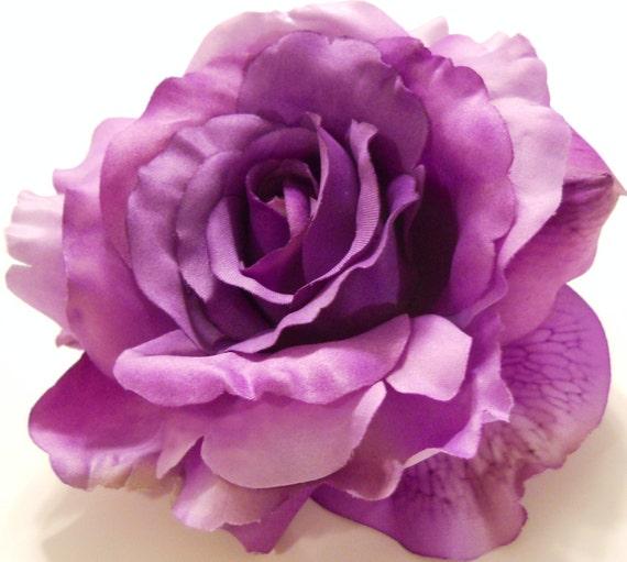 Large Purple Rose Lavender Purple Rose Hair Clip Wedding  One