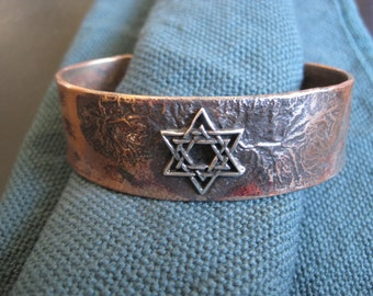 Silver Star of David recycled copper bracelet cuff