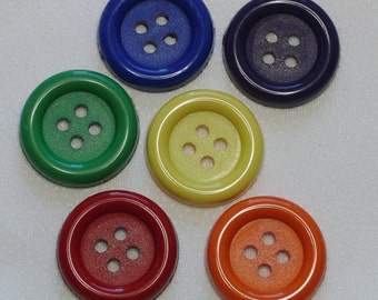 Buttons / 6 large four holed buttons bright colours / 1 inch 25mm