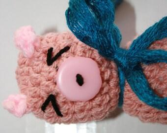 Hand Crochet Pig soft toy.