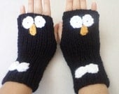 Penguin Fingerless Gloves animal hand warmers Gloves Kids Gloves Hand knitting gloves  women accessories miittens christmas gift idea