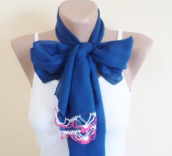 Scarf, New Fashion scarf, cotton soft scarf, Dark blue Pareo, Spring accessories, women accessories, spring trends, Gift İdeas