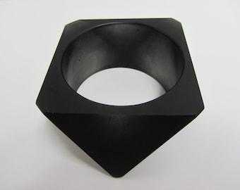 Geometric Parlour Resin Bangle Size Medium Black