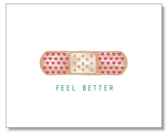 Adorable Get Well Card. FEEL BETTER card. Card for sick child. Get Well Soon Card. Band-Aid Card. Made in Brooklyn. Super Cute Get Well Card