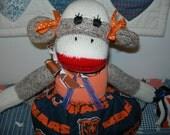 Chicago Bears Football Brown Red Heel Sock Monkey Girl Doll