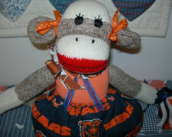 Chicago Bears Football Brown Red Heel Sock Monkey Girl Doll