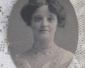Price Reduced - Small Antique Oval Photo of Edwardian Young Lady - 1902 Graduation Portrait - VIntage Paper Ephemera