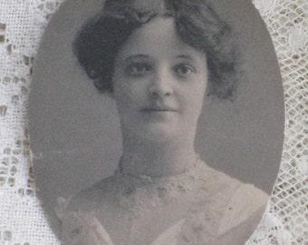 Small Antique Oval Photo of Edwardian Young Lady - 1902 Graduation Portrait - VIntage Paper Ephemera