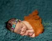 Newborn headband - teal, gold, rust, purple - Art Collection - photography prop