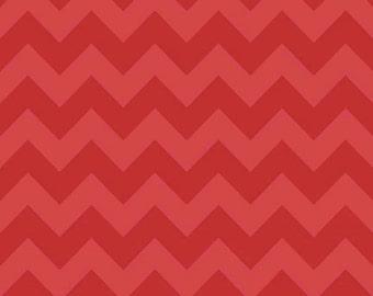 Medium Chevron Tone on Tone Red by Riley Blake Designs Half Yard Cut