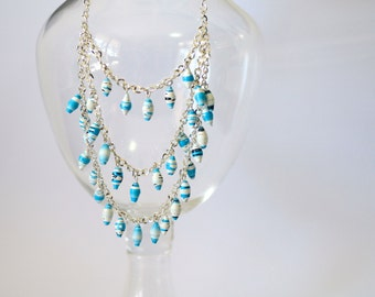 Sky Blue Long Multi Strand Paper Bead Necklace