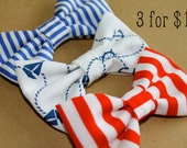 Nautical Fabric Hair Bows Blue and White Stripe Red and White Stripe Anchor Print Hair Clip Set Bow Pin Up Baby Women Teen Girls Rockabilly