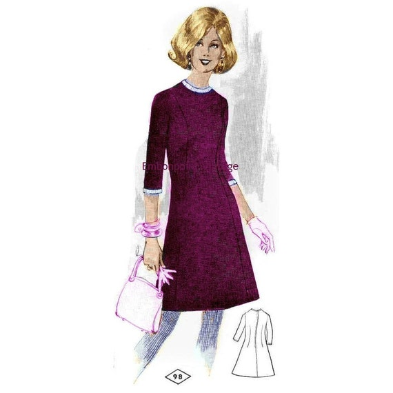 Plus Size (or any size) Vintage 1969 Dress Pattern - PDF - Pattern 98 Clara