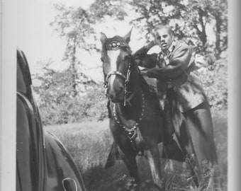 One Horse Power - Vintage 1930s Man With Blingy Western Chestnut Photograph