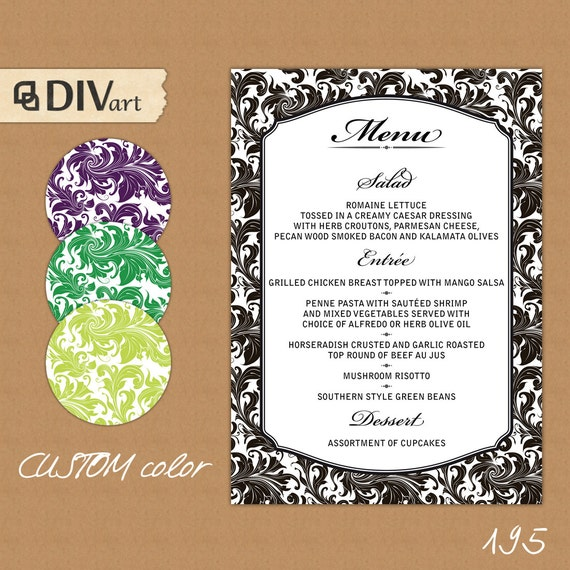 Items Similar To PRINTABLE Wedding Menu, Rehearsal Dinner