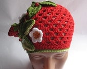Beanie  in Red with Strawberry for Children To 5  eco friendly Cotton OOAK