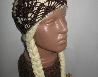Beanie  with braids and crown Princess  Premium Wool warm, soft and cozy