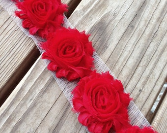 """1 yard Red Shabby Chiffon Flowers 2.5"""" Rose Trim DIY headbands hair clips crafts supply home decor wedding baby rouge 4th of July Christmas"""