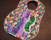 Hungry Caterpillar Birthday Bib - multiple colors available (blue, purple, orange, green, red)