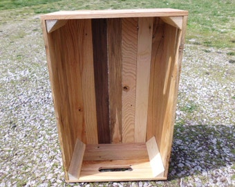 Reclaimed Wooden Storage Crate With Natural Finish, Toy Storage, Home Decor, Pallet Furniture