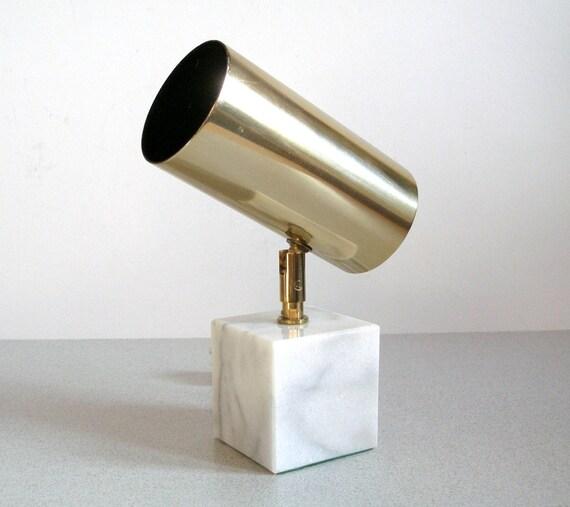 Melrose Mid Century Brass White Shade Floor Lamp: Vintage LAMP OMI/ Koch Lowy Brass Marble Swivel Spot Type 294A