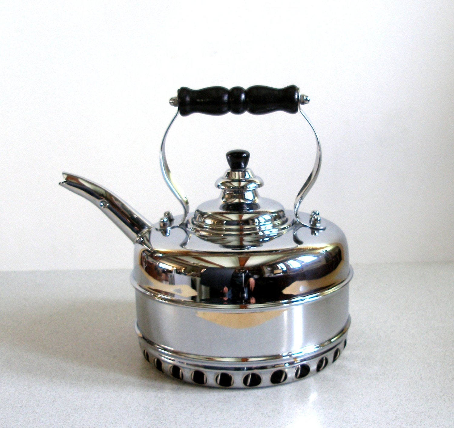 Vintage Simplex Tea Kettle For Gas Stoves Chrome Over Solid