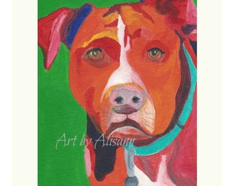 Pitbull - Dog Portrait - Limited Edition Art Print - Art Print from Original Art - Acrylic  - Multi-colored with Green Background
