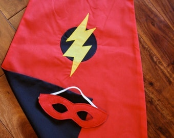 Super Hero Cape and Mask Set for kids -  Around the arms cape - Kids cape - Black and Red cape for kids - size 4-6