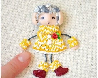 Sheep Doll Brooch, Cute Gift, Lovely Brooch on a children's handbag, Polimerclay brooch