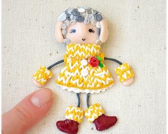 Sheep Doll Brooch mascot for ram