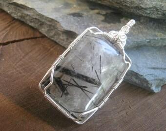 Tourmalated Quartz Pendant, Black Tourmaline Rectangular Gemstone, Sterling Silver Wire Wrapped AA Grade
