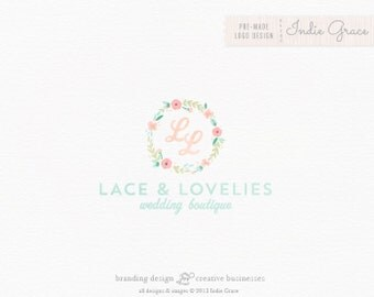 Custom PreDesigned / Watercolor floral Initials design - photography or boutique logo