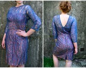 50's Periwinkle Blue Delicate Lace V-Back Sweetheart Wiggle Dress Size 10 Size 12