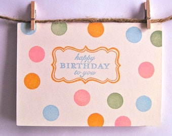 Happy Birthday Card- Colorful Polka Dots