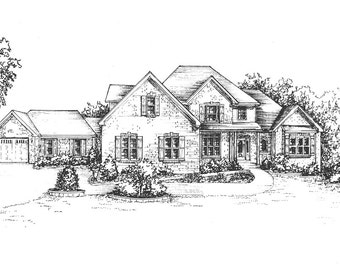 "Picture of House.  home illustration, drawn in Ink  11""x 14"" custom home portrait heirloom - Ink architectural sketch of your family home"
