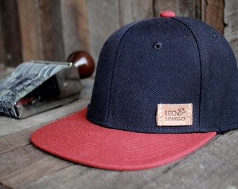 Snap back baseball cap // wool/acrylic hat with hand stamped leather patch
