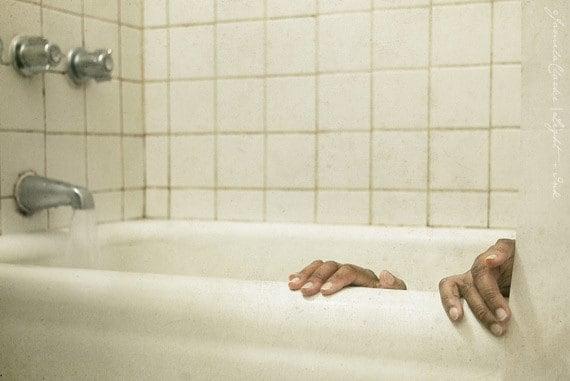 Bath - Free US Shipping - Photo Print - White Bathroom Scene - Bath Time  Surreal Scene - Fine Art - Wall Art